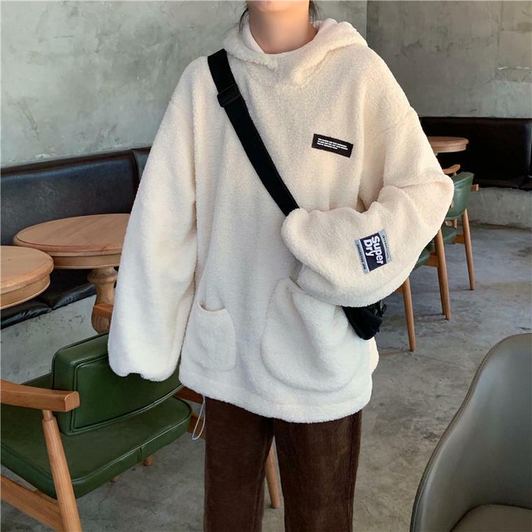 【送料無料】ふわふわ ボア ♡ オーバーサイズ ボリューム袖 カジュアル フード付き パーカー プルオーバー トップス