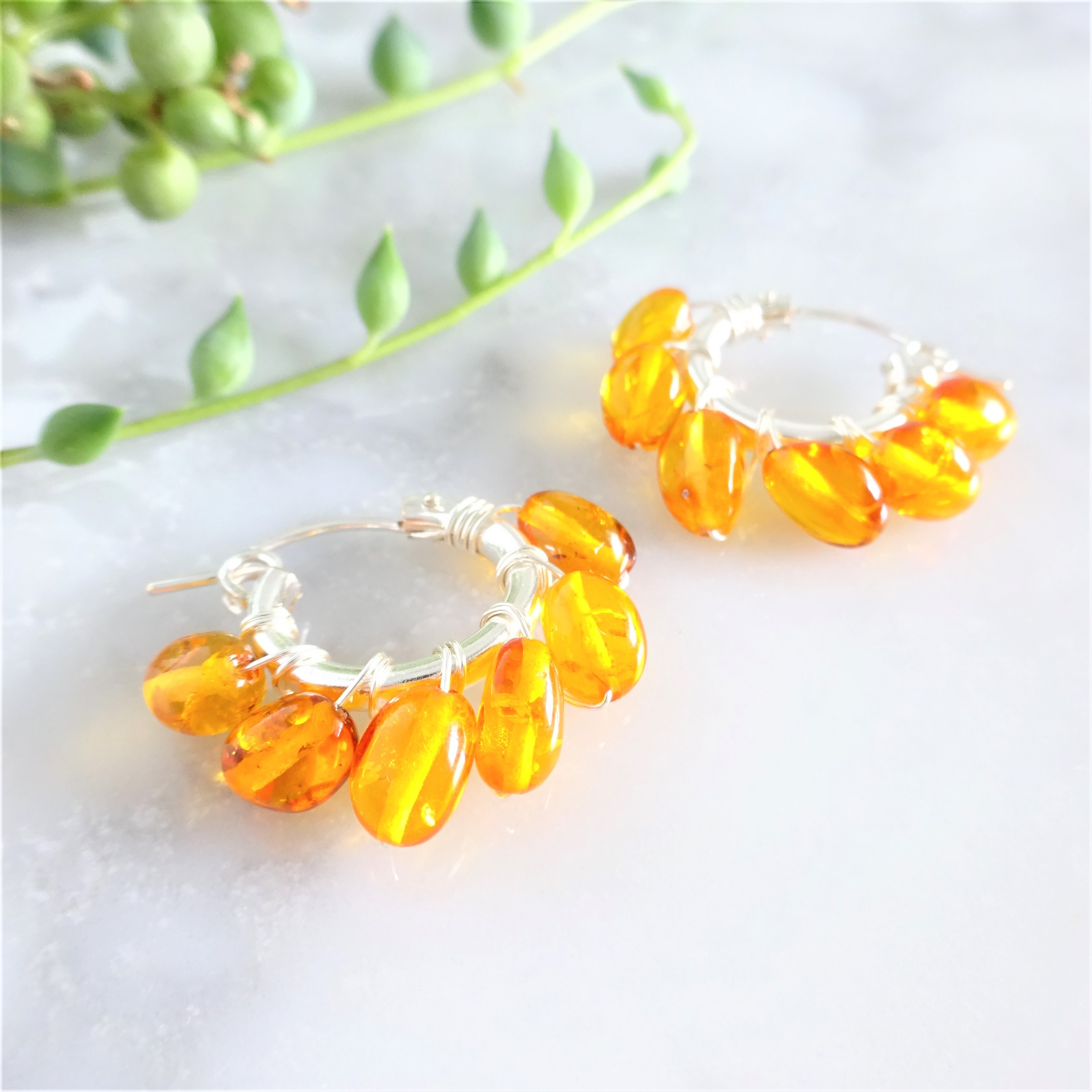 SV925SF*天然琥珀Baltic Amber wrapped pierced earring/earring