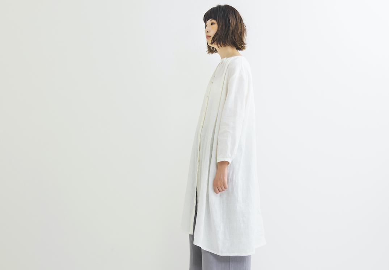 ロングボタンシャツワンピース white