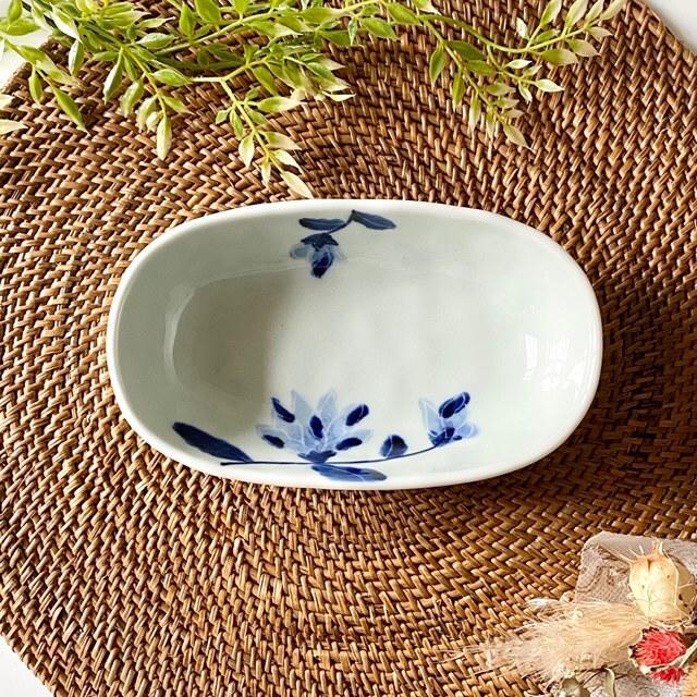 花もよう(木蓮) オーバル鉢(小)