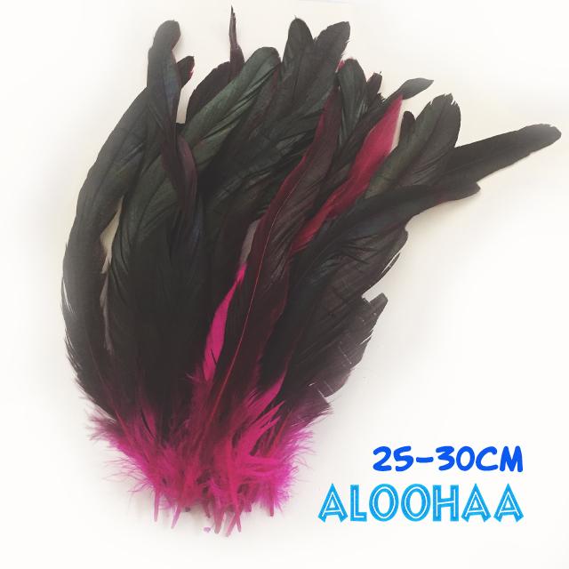 ロングフェザー 【ピンク】25~30cm タヒチアン 衣装 材料 ルースターテール 染め 羽根