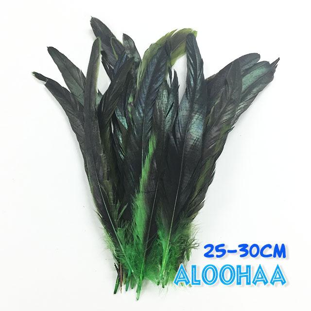 ロングフェザー 【グリーン】25~30cm タヒチアン 衣装 材料 ルースターテール 染め 羽根