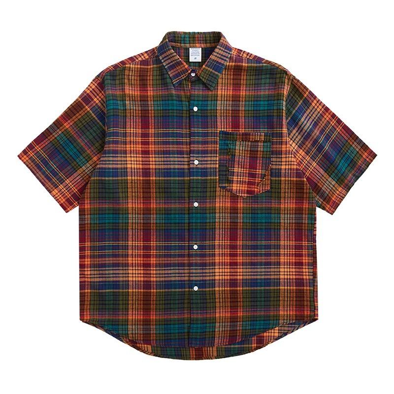 【UNISEX】フロントポケット ボタンダウン ショートスリーブ チェック シャツ UN-A0190