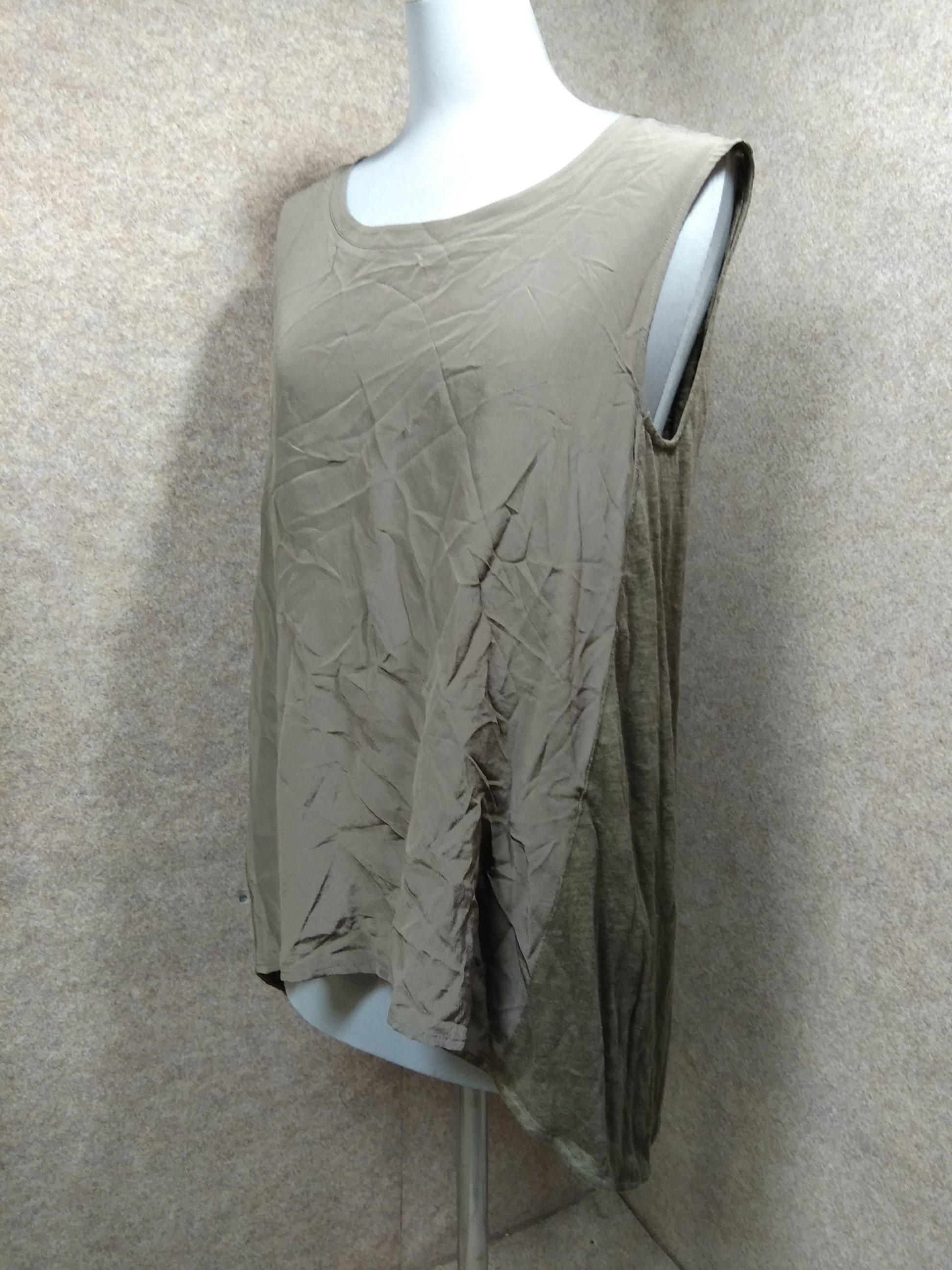 自由区 絹/麻 切替ノースリーブ カットソー 38 ブラウン u1251a
