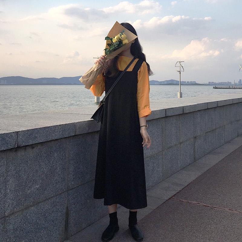 【送料無料】 大人カジュアル♡ ゆるカジ ロングTシャツ × ミモレ丈 ジャンパースカート セットアップ