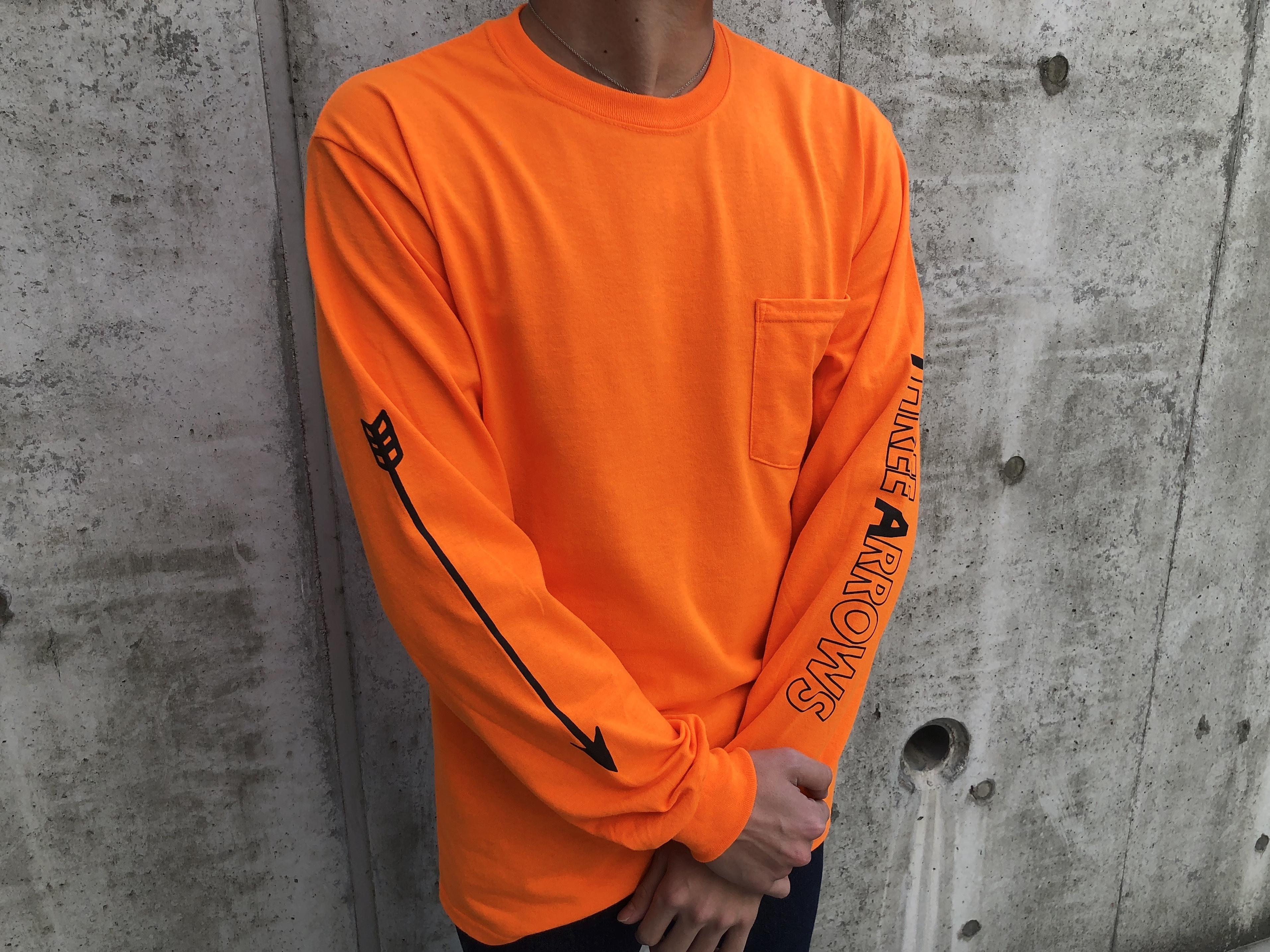 ARROWポケット付きロングTシャツ(neon orange)