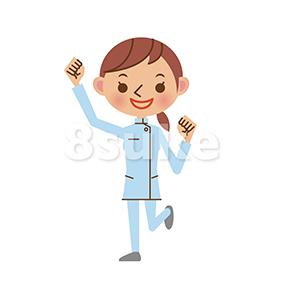 イラスト素材:ガッツポーズをする介護士の女性(ベクター・JPG)