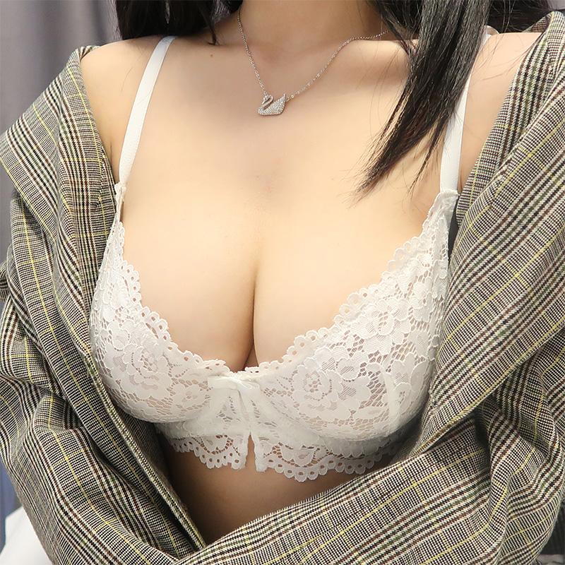 (A-Dカップ)【下着セット】セクシー刺繍リボン透かし彫りブラ&ショーツセット30570899