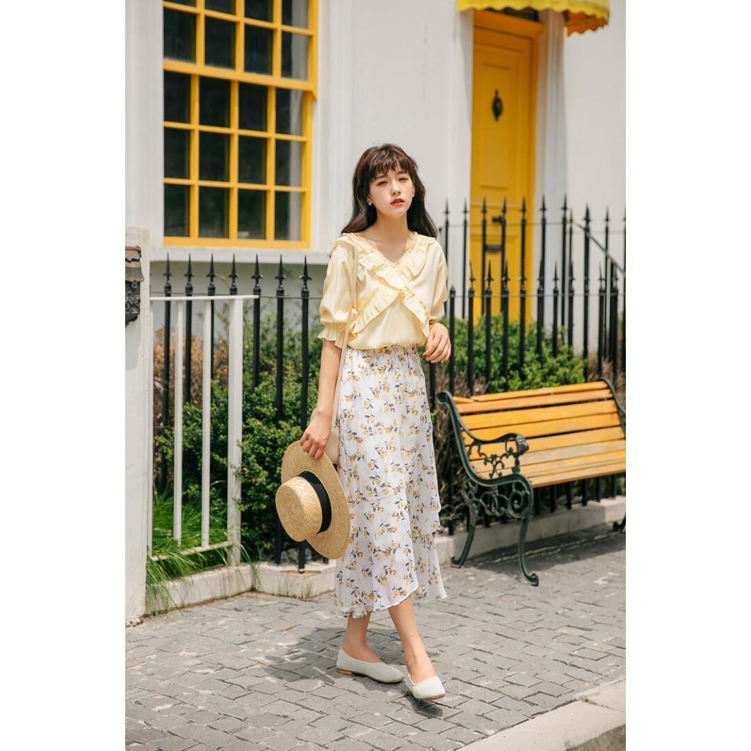 【送料無料】シフォン ミモレ丈 花柄 フレア マーメイドスカート B19070601