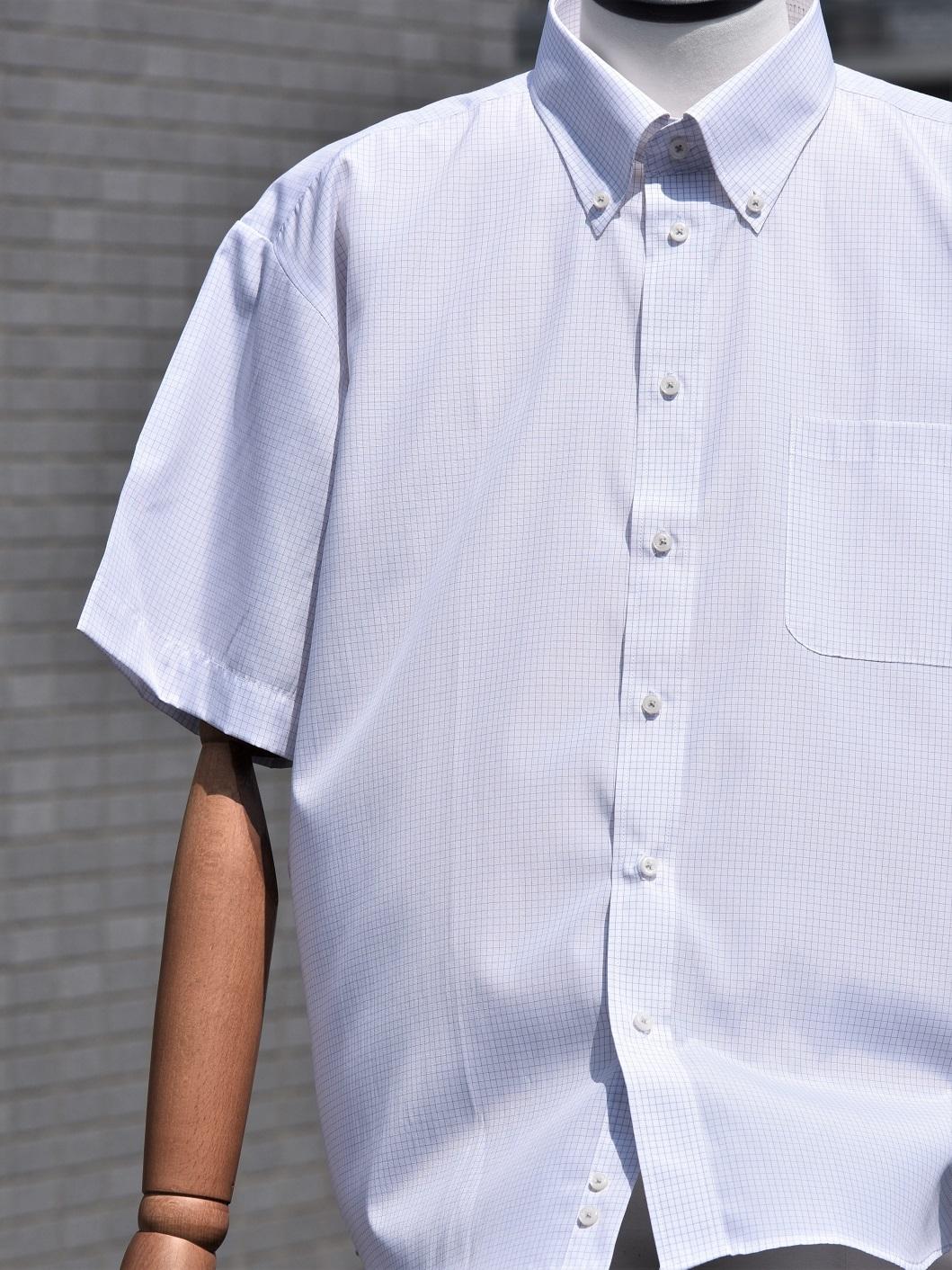 【大きめサイズ3L】半袖チェック柄シャツ(ホワイト) BB