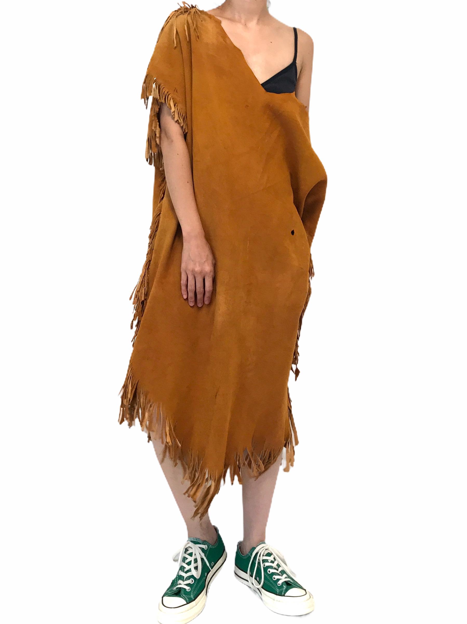 70's Vintage Brown Deerskin Handcrafted Dress
