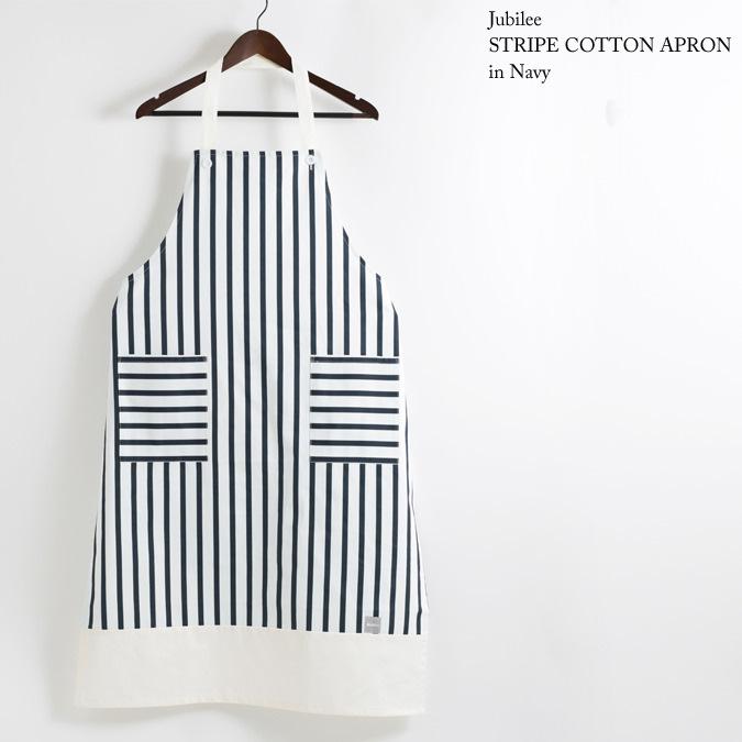 ストライプ コットンギャルソンエプロン メンズ ホワイト × ネイビー