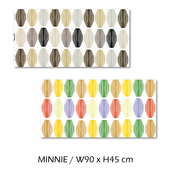北欧生地 ファブリックパネル 横90 cm x 縦45 cm Kinnamark MINNIE 受注販売商品 (100426)