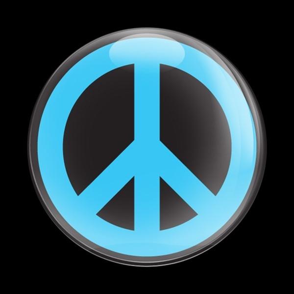 ゴーバッジ(ドーム)(CD0428 -SIGN PEACE BLUE B) - 画像1