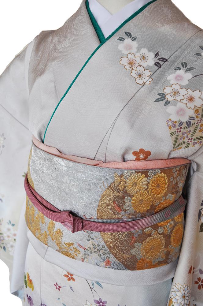 訪問着レンタル■上品な薄グレー地に菊や桜の花柄■正絹フリーサイズhu8〔往復送料無料〕 - 画像3