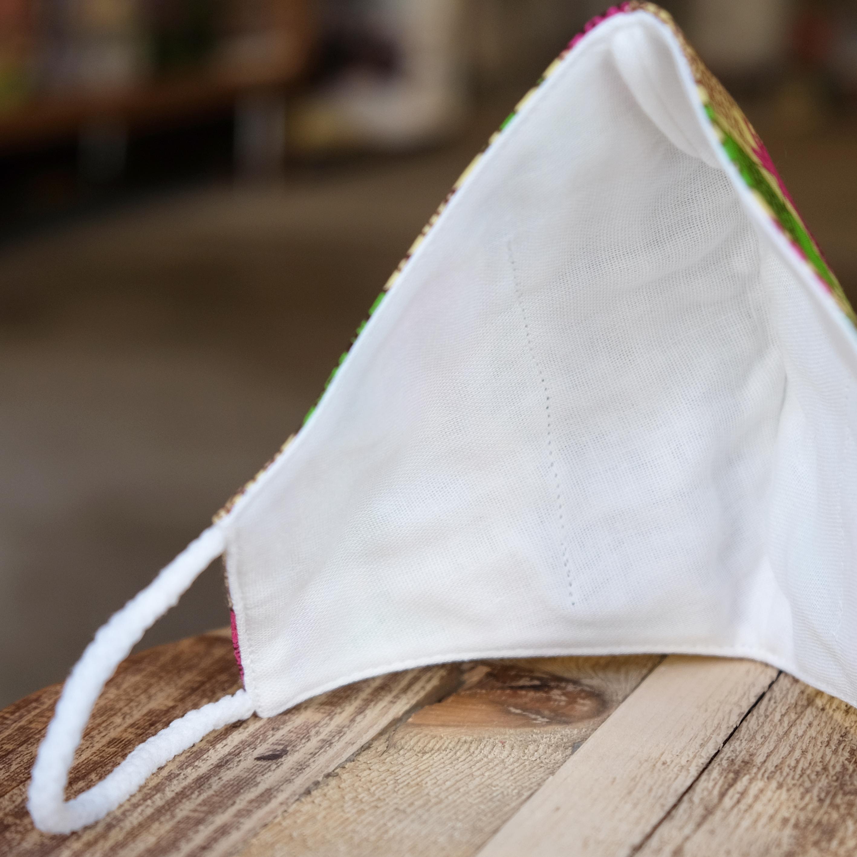 アフリカ布で作った銅繊維シート入りマスク/風車