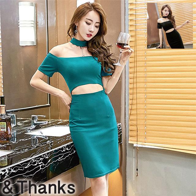 ドレス特集 ストラップレスネックラインドレス 2カラー 3サイズ