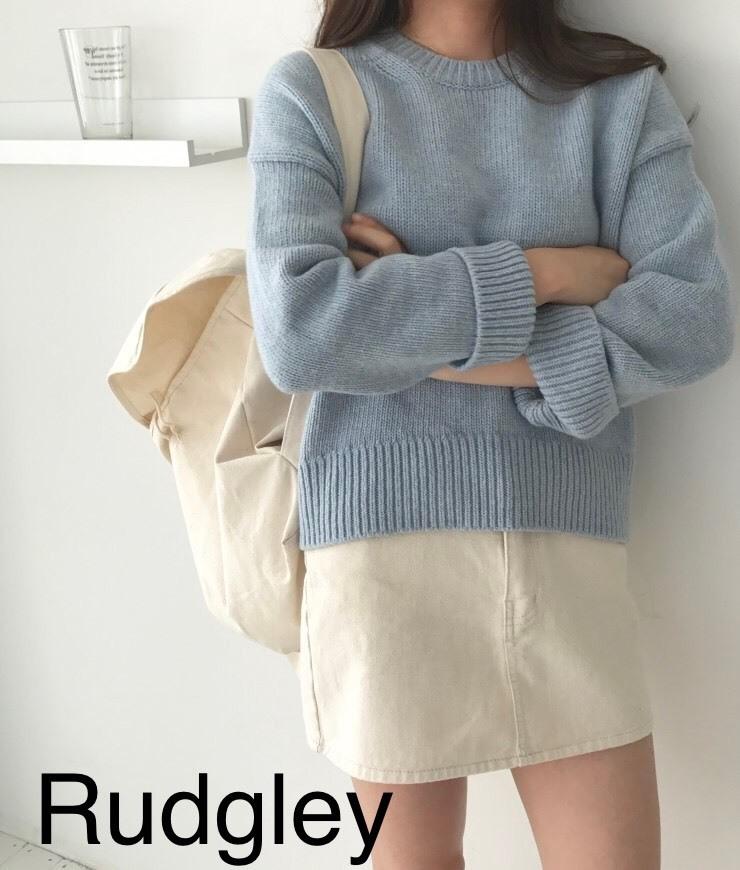 シック ラウンドネック シンプル セーター