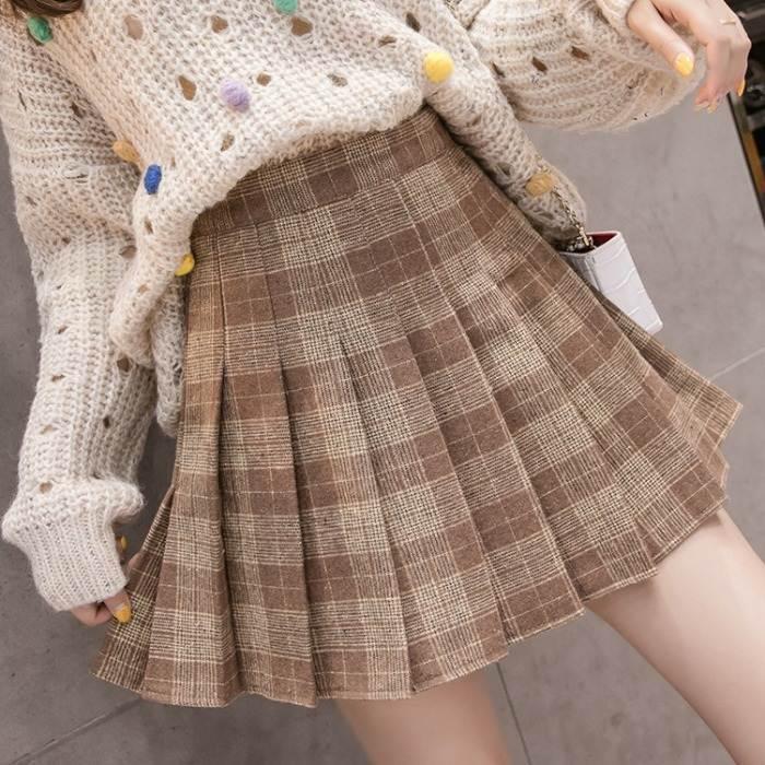 【送料無料】 冬のガーリースタイル♡ チェック柄 プリーツ ミニスカート スクールガール風 ウール