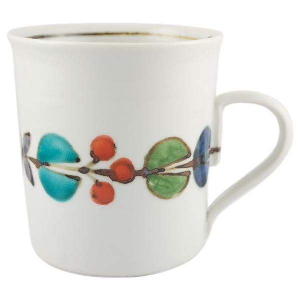 九谷青窯 色絵花繋ぎ マグカップ