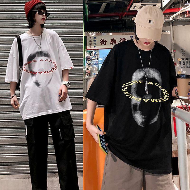 ユニセックス 半袖 Tシャツ メンズ レディース 顔 英字 プリント オーバーサイズ 大きいサイズ ルーズ ストリート