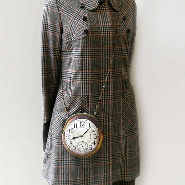 【受注製作】時計がま口 ミニポシェット アラビア数字金時計 - 金星灯百貨店