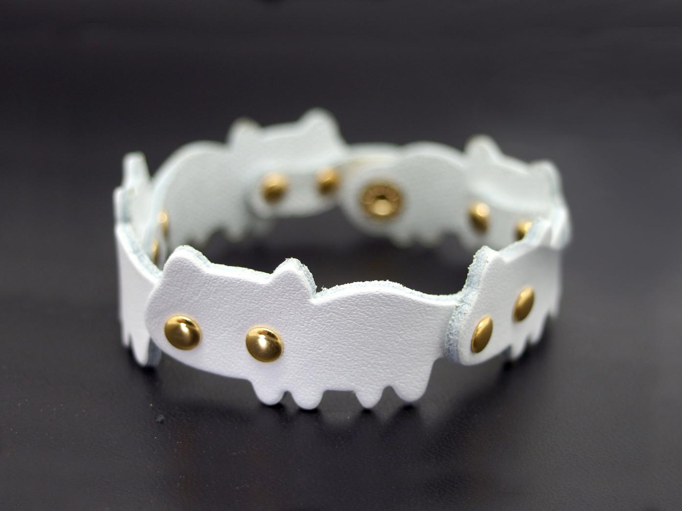 猫連合ブレスレット|白ネコ(牛革製)