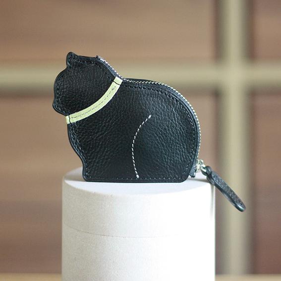 お座り子猫のコインケース・ブラック×ピスタチオ[受注生産品]