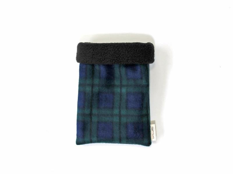 ハリネズミ用寝袋 S(冬用) フリース×フリース チェック ブルー
