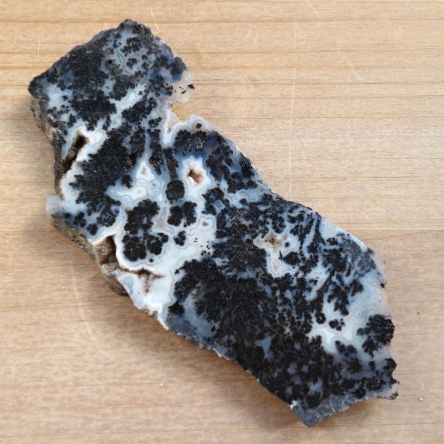 ブラックプルームアゲート スライス スラッブ 原石 羽毛瑪瑙 61,7g BPA001