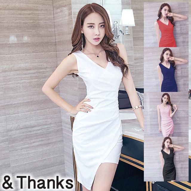 ドレス特集 Vネックスリムドレス 5カラー 4サイズ
