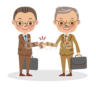 イラスト素材:握手をするビジネスマン/中年男性と熟年男性(ベクター・JPG)