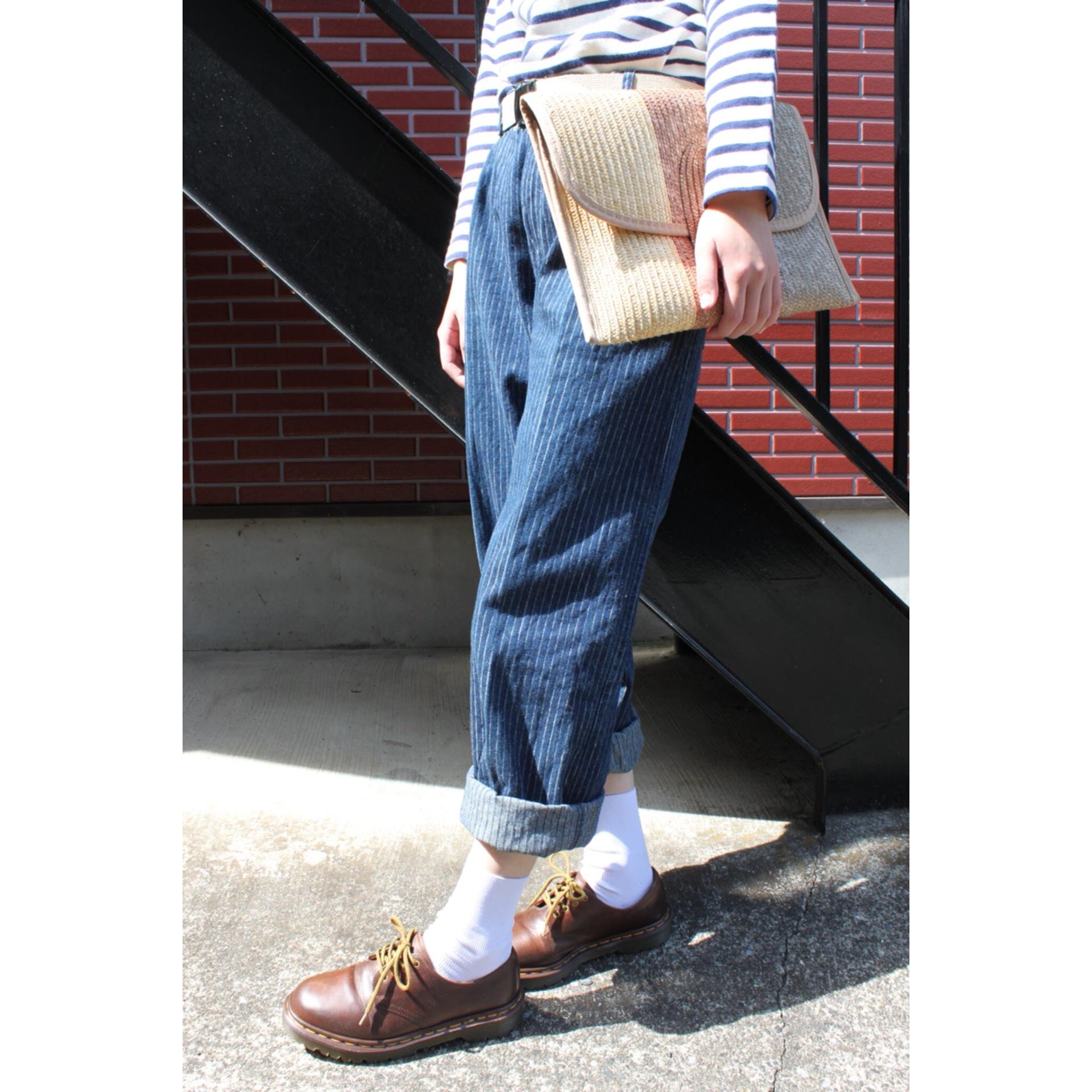 Vintage stripe denim pants