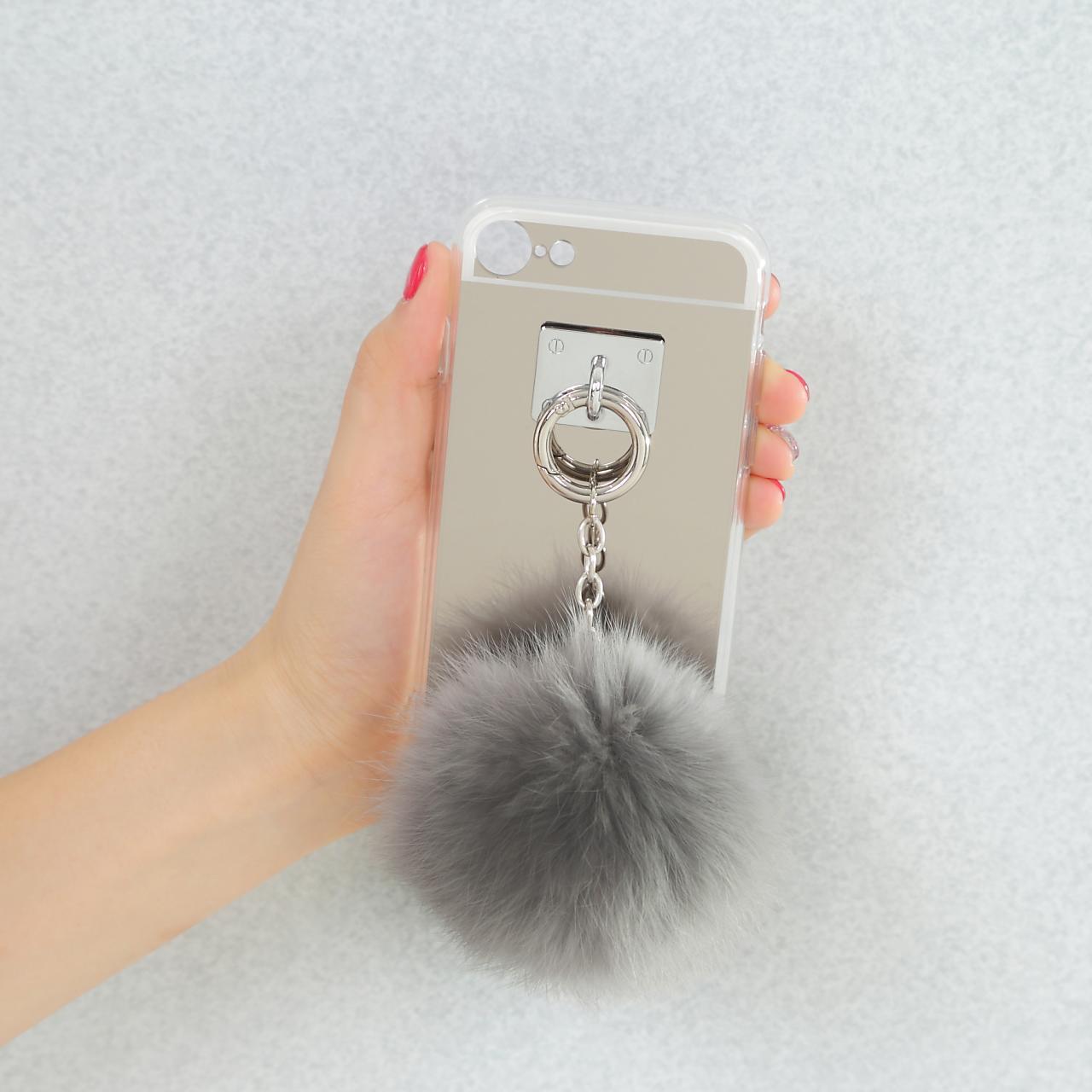 【送料無料】ボンボンファー&ミラー 取り外し可能 iPhoneケース