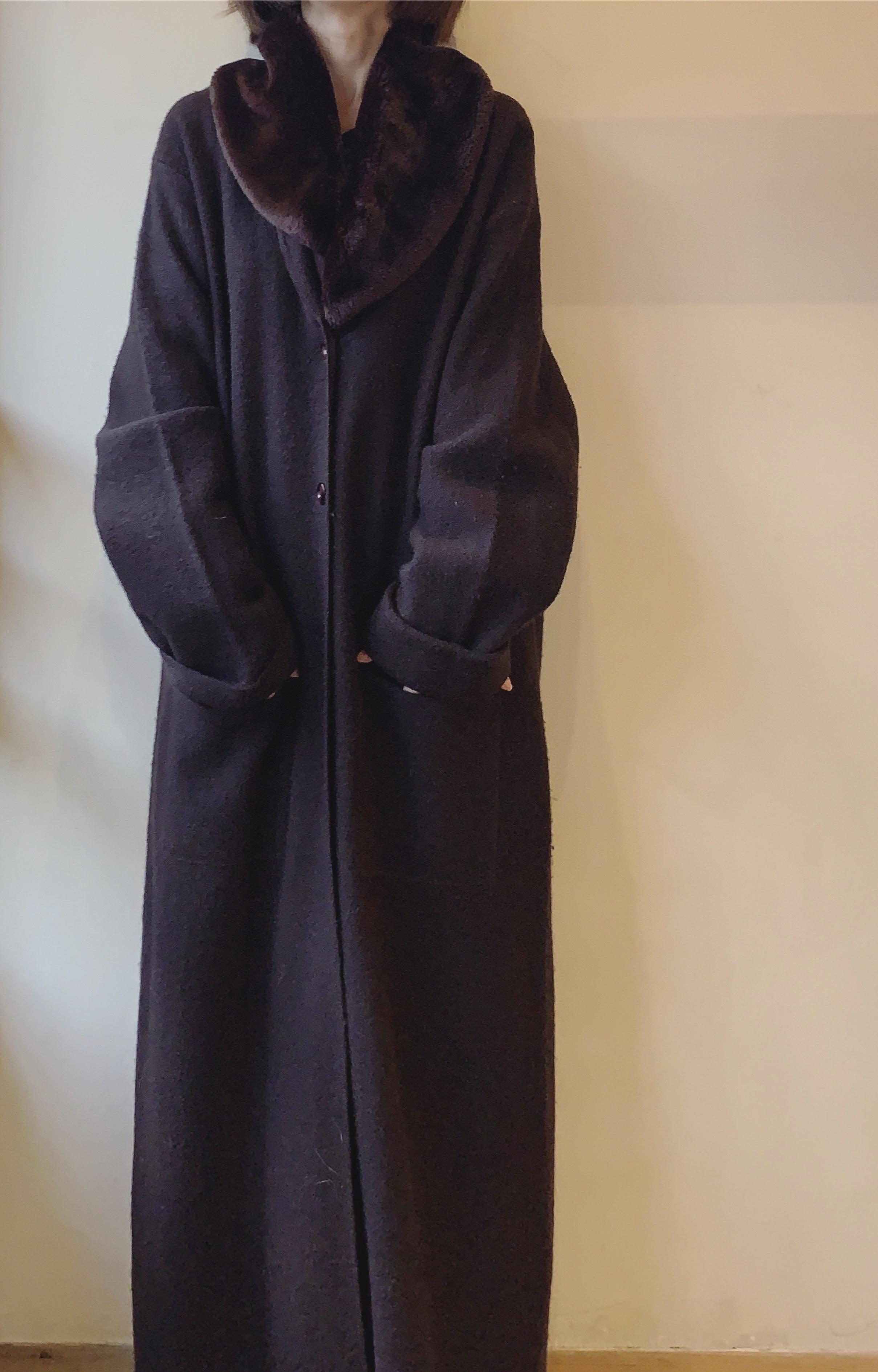 vintage fur wool cardian coat