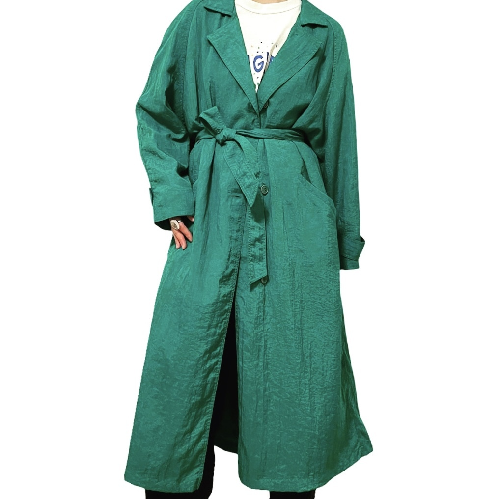 80's Potomac Collection Green Nylon Trench Coat