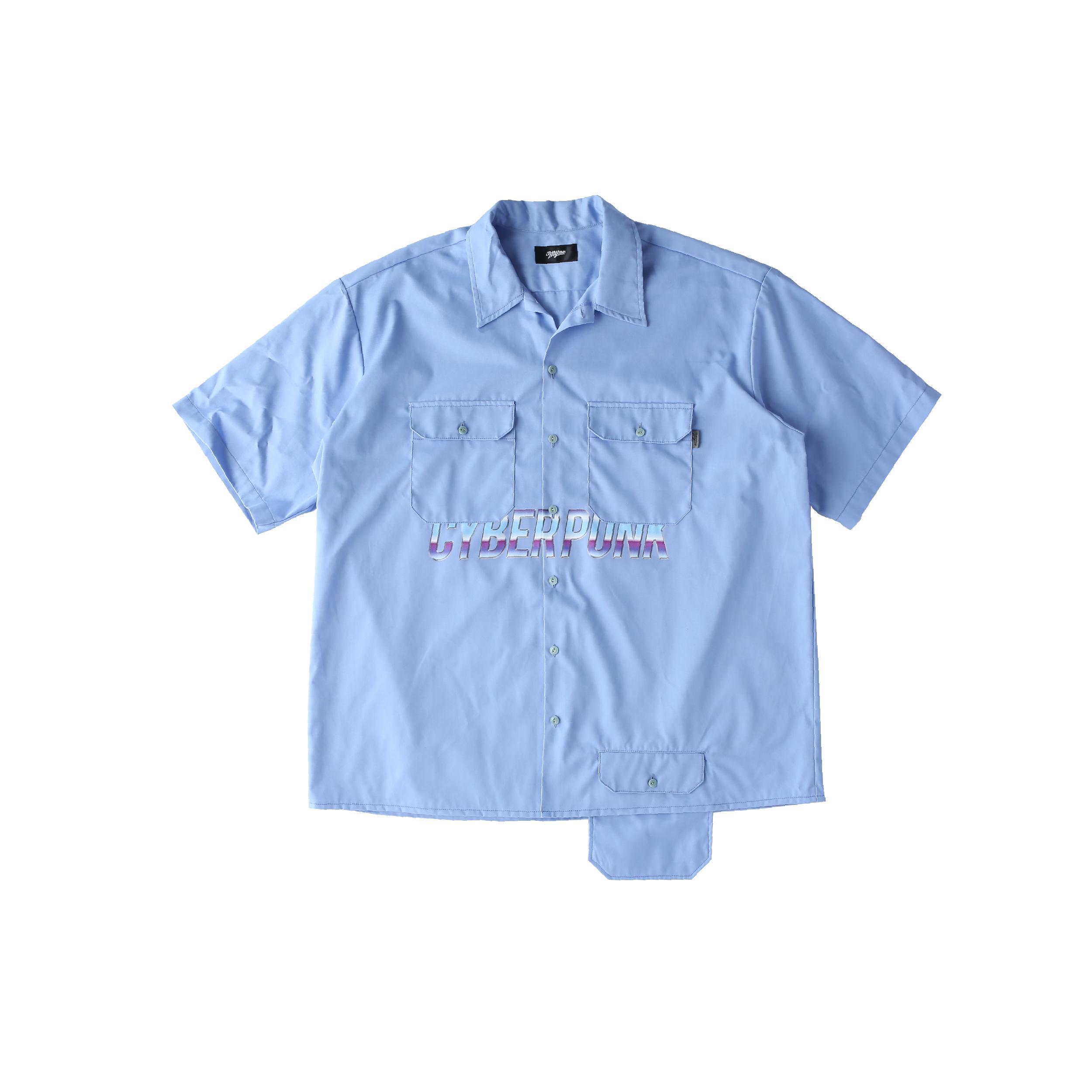 CYBER PUNK work shirt / BLUE - 画像1