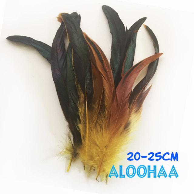 ロングフェザー 【黄色】20-25cm タヒチアン 衣装 材料 ルースターテール 染め 羽根