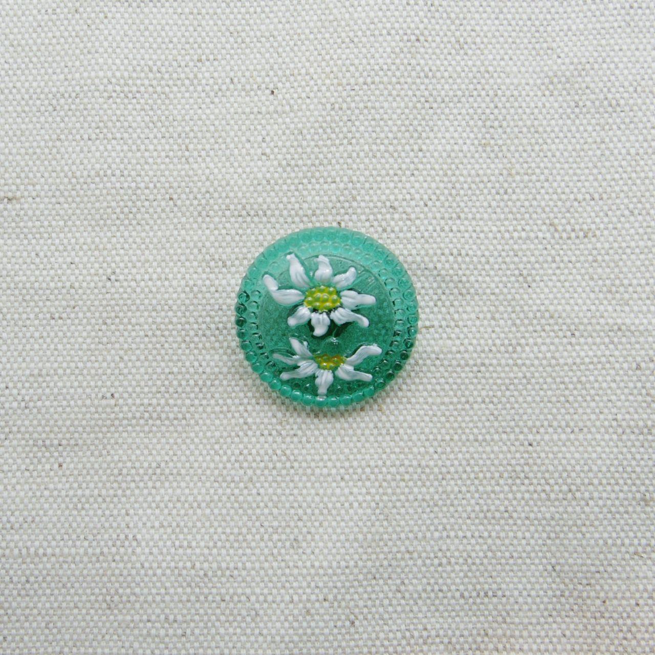 【チェコガラスボタン】エーデルワイス・クリア緑 ::: 中2.3cm