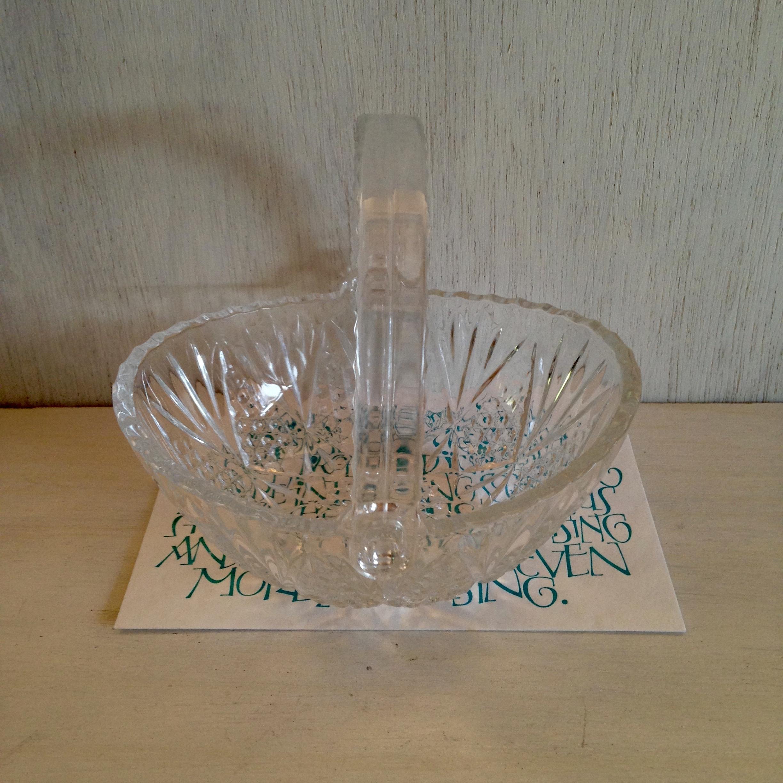 ガラスの小さなバスケット 昭和レトロ(HOYA製)