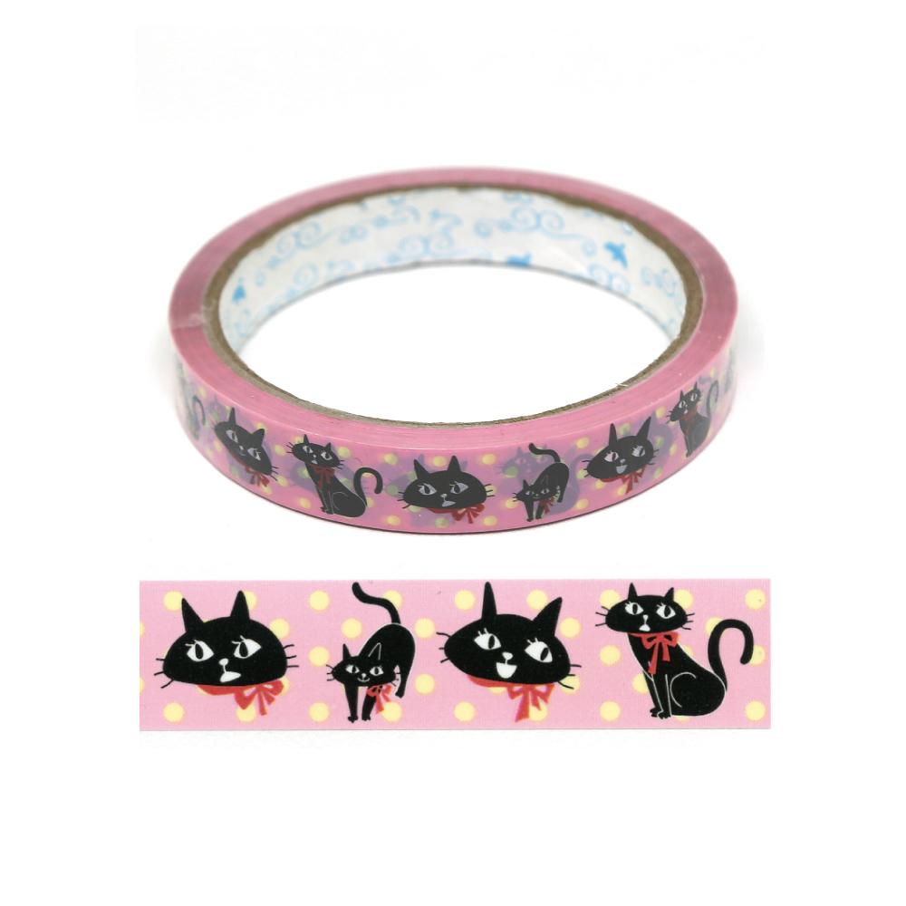 猫テープ(黒猫ピンク)