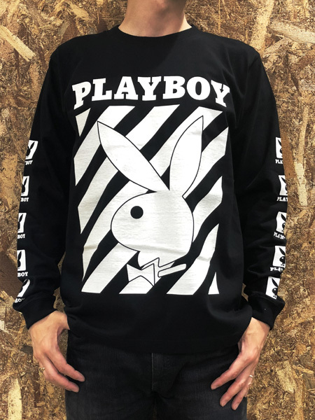 PLAYBOY (プレイボーイ) ロゴプリント ロンT Black (ブラック