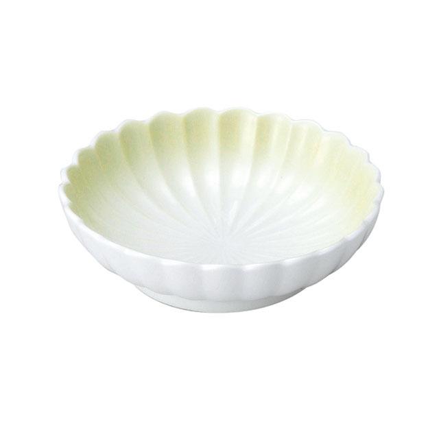 【2054-2780】菊型丸皿(11.5cm) 可愛いカタチの小皿 ぼかし若草