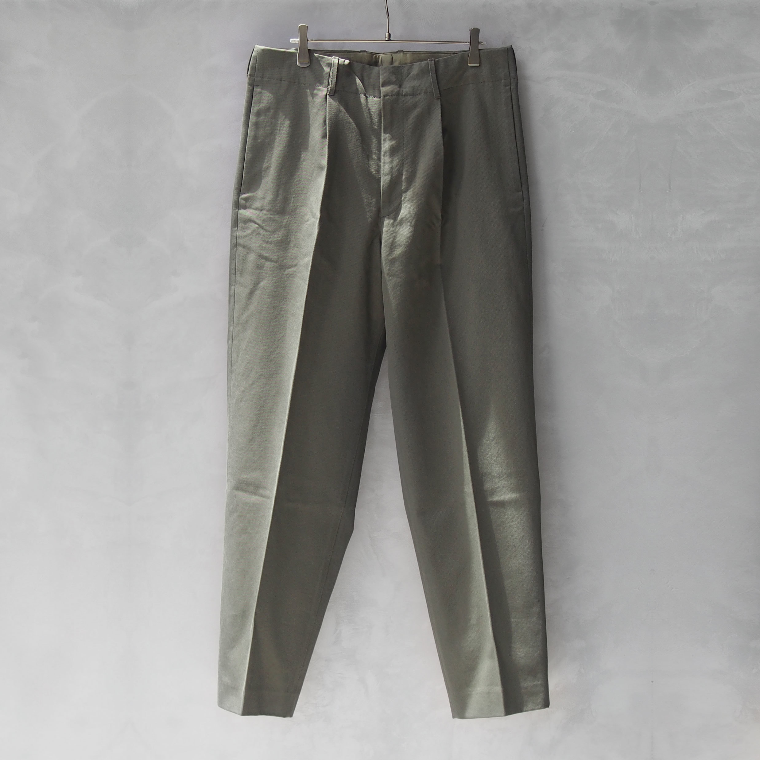 AURALEE WASHED FINX CHINO TAPERED PANTS OLIVE
