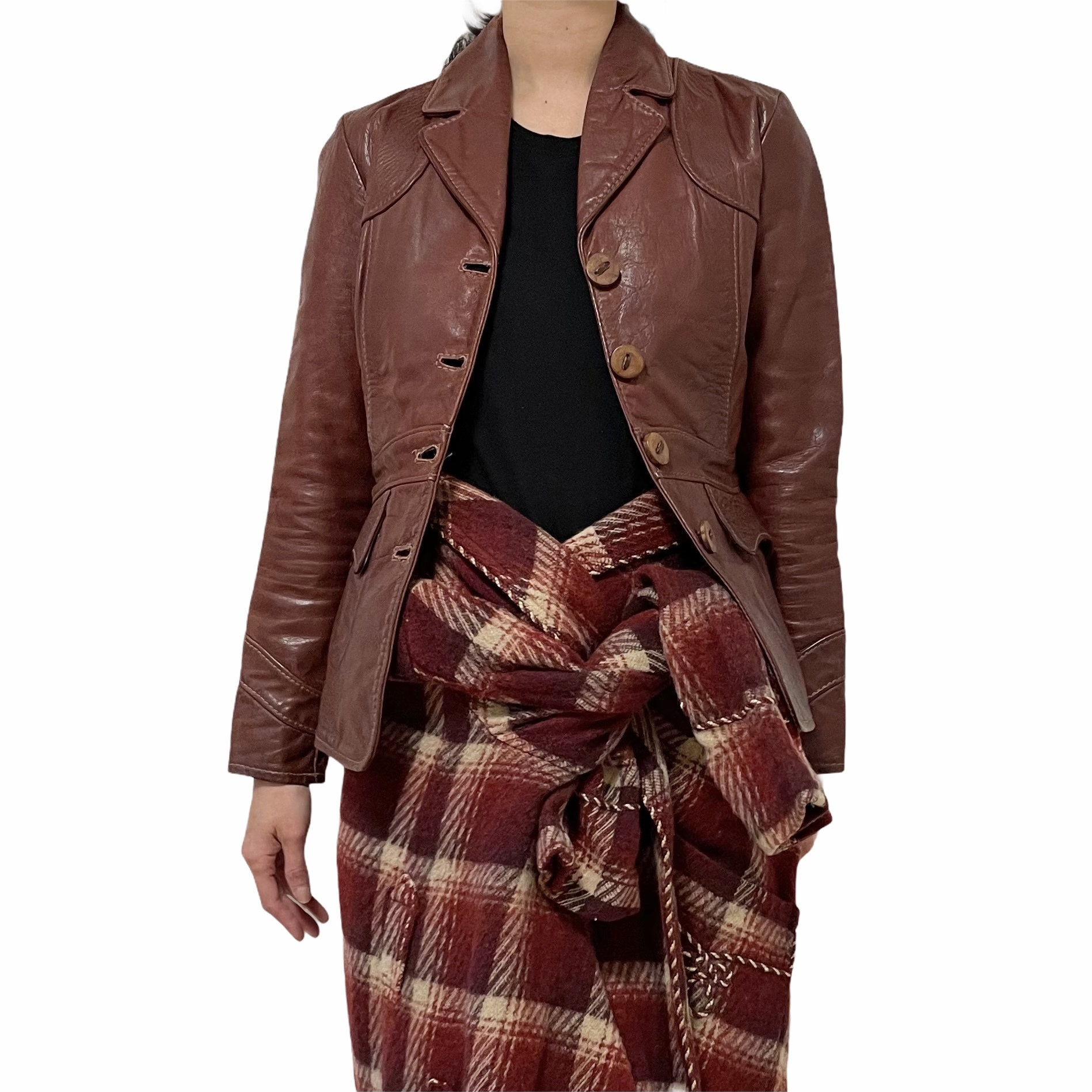 70's OSHWAHKON Brown Leather Jacket