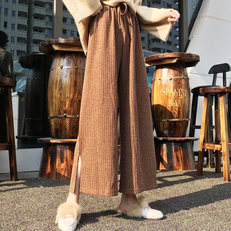 「ボトムス」ファッション秋冬ニットスリット4色ハイウエストカジュアルガウチョパンツ