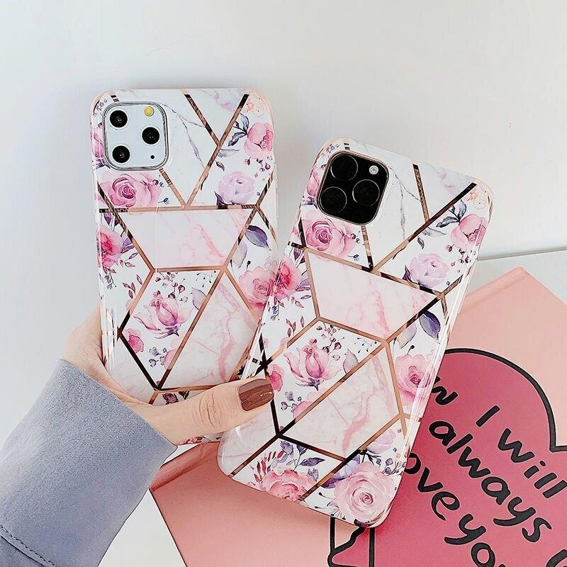 【お取り寄せ商品、送料無料】かわいい バラ 花 幾何学模様 ソフト iPhoneケース iPhone11