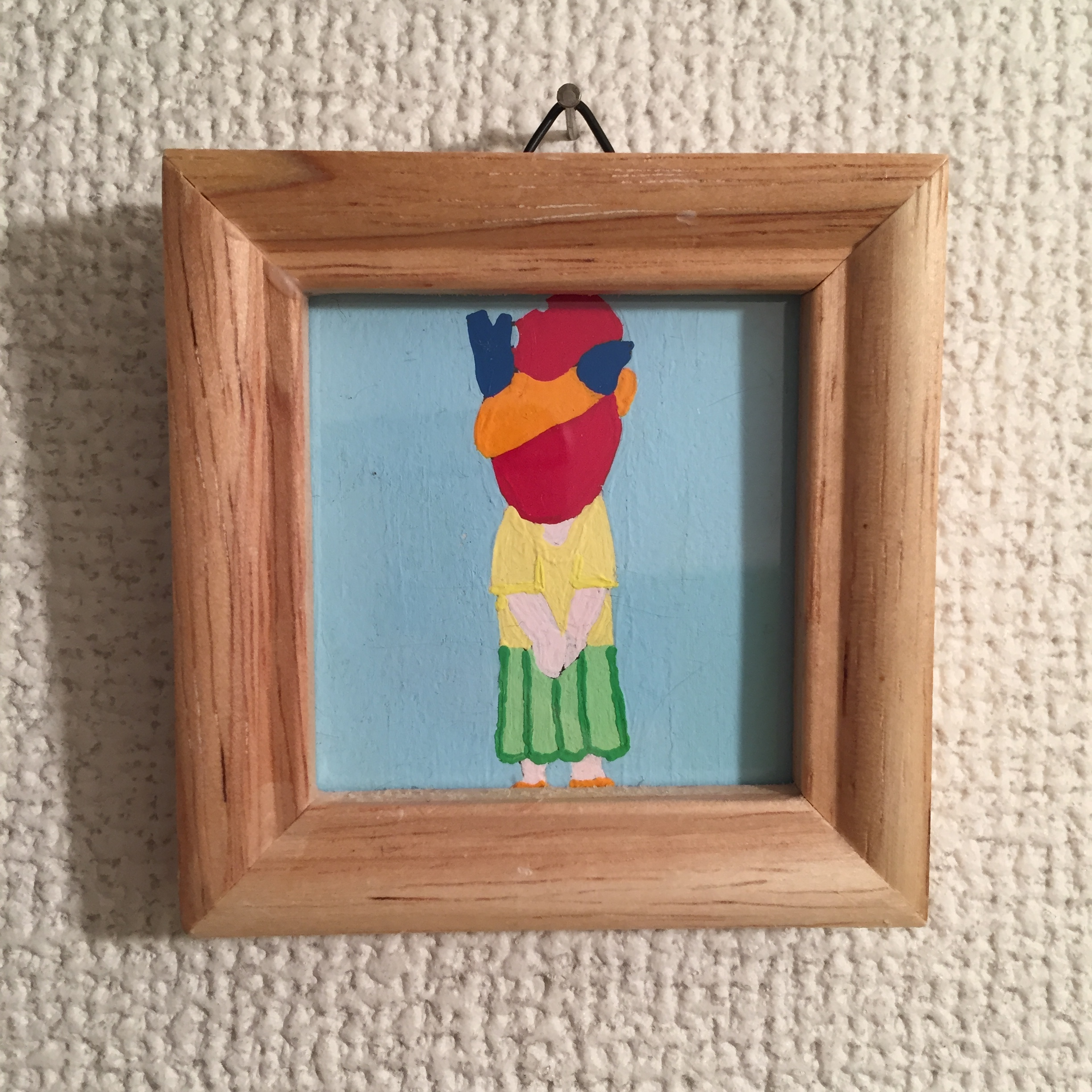 Lovely heart girl  / Acrylic Painting / 50mm×50mm / Original Drawing
