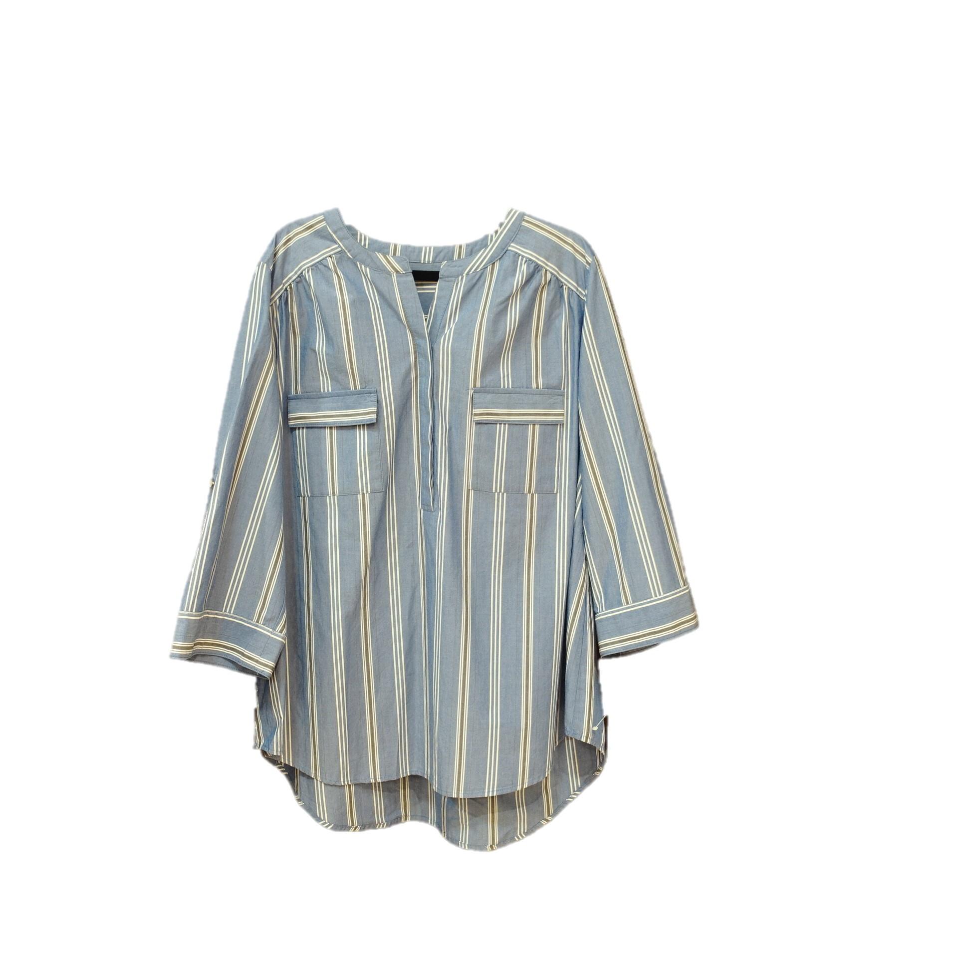 21036   ストライプ・スキッパーシャツ/ブルー