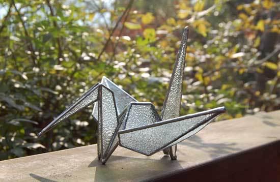 折り鶴(ガラスのアート作品) 03010001